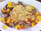 Pan-Roasted Lime Marinated Pork Tenderloin with Mango Salsa and Almond Rice Pilaf