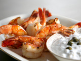 Grilled Prawns with Caper Tzatziki