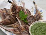 Lamb Chops with Mint Almond Pesto
