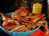 Dungeness Crabs Steamed on the Grill in Ginger, Soy, Lime, Mirin and Soy