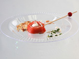 Smoked Salmon Mousse Lollipops with Wasabi Creme Fraiche and Baked Wonton Flakes