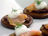 Smoked Salmon and Olive Blini