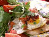 Tomato, Red Onion and Rocket Salad with Fried Egg, Grilled Chorizo and Grilled Provoleto Crostini