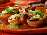Grilled White California Peaches with Almond-Mint Pesto