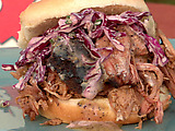 Pulled Pork Sandwich with Black Pepper Vinegar Sauce and Green Onion Slaw