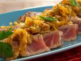 Grilled Tuna with Caramelized Onions, Cinnamon and Mint