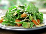 Arugula, Avocado, Papaya and Jicama Salad with Pomegranate Dressing and Tortilla Chip Croutons