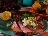 Rib Eyes with Goat Cheese, Meyer Lemon-Honey Mustard and Watercress
