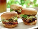 """Caja China-Roasted """"Peking"""" """"Pekin"""" Pulled Duck Sliders with BBQ Creme Fraiche and Pickled Grilled Green Onions"""
