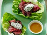 Filet Mignon with Honey-Dijon Vinaigrette, Lavender Fine Herb Goat Cheese and Butter Lettuce