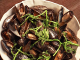 White Miso Mussels with Watercress