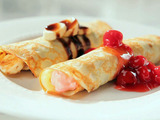 Swedish Pancakes with Cherry Cream Cheese and Chocolate-Banana Fillings