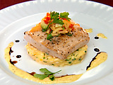 Seared Mahi-Mahi with Saffron Risotto and Mango Sauce