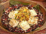 Seared Mahi Mahi with Grilled Mango-Pineapple Salsa, Green Rice, and Black Beans