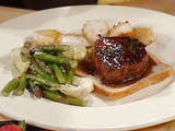 Baked Scallops and Seared Tournedos with Artichoke Hearts and Asparagus Tips