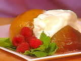 Vanilla Poached Peaches with Whipped Minted Yogurt