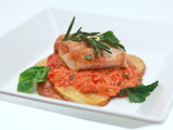 Chicken and Potato Napoleon with Spicy Tomato Sambal Sauce