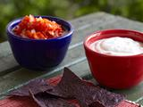 Red and White Double Dippers with Blue Corn Chips
