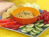 Lemon-Garlic Chick Pea Dip with Veggies and Chips