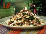 Grilled New Potatoes and Zucchini with Radicchio, Goat Cheese and Aged Sherry Vinaigrette