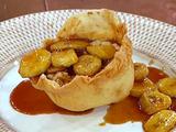 Flambeed Bananas and Rice Pudding in Individual Crispy Tortilla Bowls