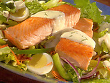 Salmon Cobb Salad in Creamy Dill Dressing