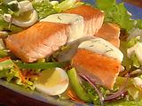 Salmon Cobb Salad in Creamy Dill Dressing
