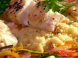 Pan Seared Fish (Pacific Halibut or Cod) with Herbed Vegetable Ribbons and Couscous
