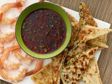 Sweet-and-Spicy Asian Dipping Sauce with Sesame-Scallion Flatbread and Shrimp