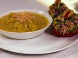 Chill Out, Spanish Style: Yellow Tomato Gazpacho, Toasted Almond Breadcrumbs, Tuna Salad Stuffed Piquillos or Plum Tomatoes