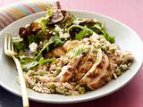 Creamy Lemon-Pepper Orzo with Chicken and Fig Salad
