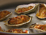Oysters Casino with Red Bell Peppers, Chili and Bacon