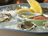 Raw Oysters on the Half Shell with Cucumber Mignonette