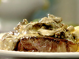 New York Strip Steak with Brandied Mushrooms and Fresh Thyme