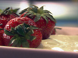 Fresh Strawberries with Sweet Sour Cream and Red Wine Sauce