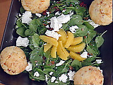 Spinach, Dried Cherry and Goat Cheese Salad with Warm Bacon Dressing