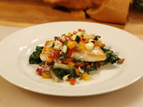 Seared Halibut with Sauteed Swiss Chard and Salsa Cruda