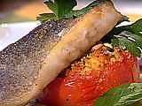 Pan Seared Branzino and Tomatoes Stuffed with Pecorino Romano and Couscous