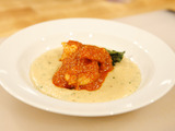Pan-Seared Shrimp with Romesco Sauce, Creamy Grits, and Greens