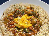 Hi-Wire Hot Vegetable Curry with Mango Salsa Sambal