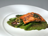 Pan Seared Salmon with Asparagus Lemon Salad, Red Wine Reduction and Watercress Puree