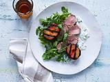 Grilled Pork Tenderloin and Plums with Creamy Goat Cheese Sauce