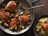 Pan Roasted Chicken Thighs with Grapes and Olives
