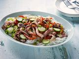 Calamari Stir Fry with Peppers and Cukes