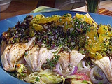 Fish of the Day on Roasted Potato, Shaved Fennel, and Orange Salad with Kalamata Gremolata Oil