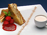 """Queen's Bread Pudding with Cold Fruit """"Soup"""""""