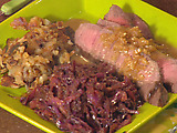 Sliced Steaks with Sauerbraten, Onion Hash Browns, Spiced Red Cabbage