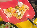 Smoked Cheddar Quesadillas with Yellow Tomato Salsa and Cilantro Lime Sour Cream