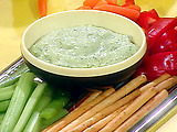 Veggies and Breadsticks and Groovy Green Goddess Dip