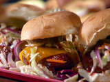 Brooklyn Chili Burgers with Smoky Barbecue Sauce with Oil and Vinegar Slaw